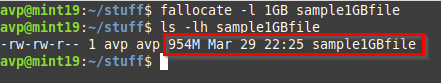 creating a 1GB file using the fallocate command