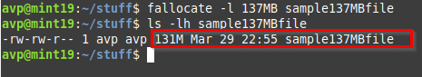 creating a 137 MB file using the fallocate command