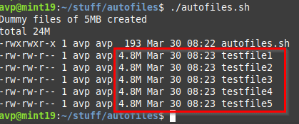 sample files generated using the Bash script that uses fallocate