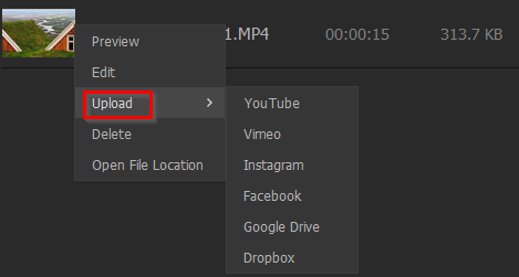 upload recorded videos to online services and social media