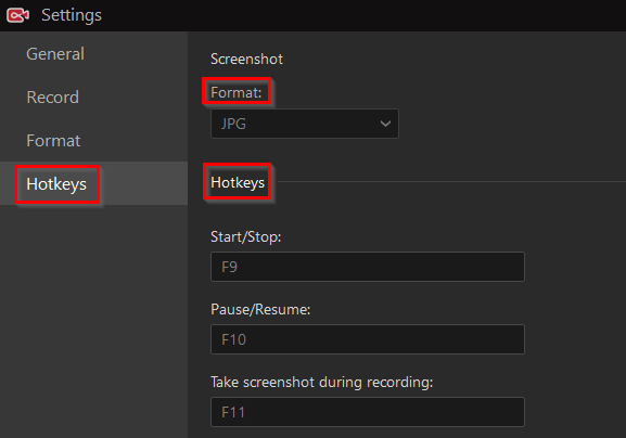 hotkeys settings to configure in IObit Screen Recorder