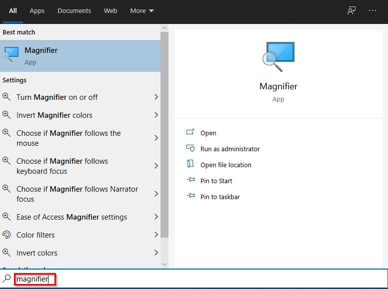 opening Magnifier in windows 10