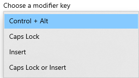 configuring modifier keys for Magnifier reading mode