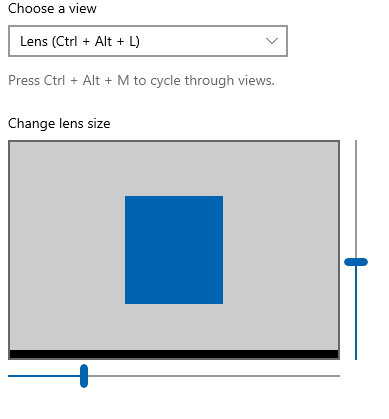 changing the lens dimensions for Magnifier