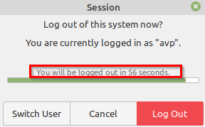 countdown timer on logging off from Linux Mint 20.1 PC