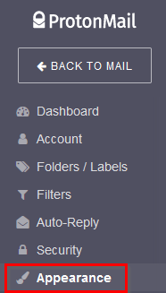 changing ProtonMail appearance settings
