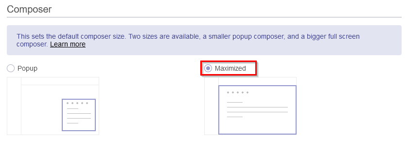 choosing the Maximized Composer view