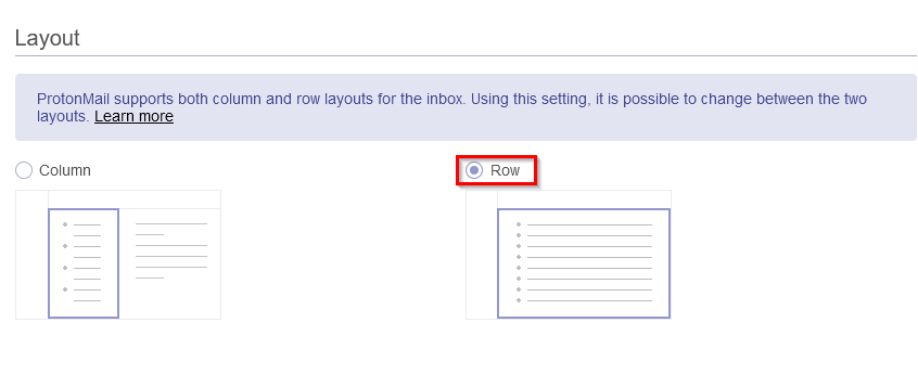 Changing the inbox layout in ProtonMail