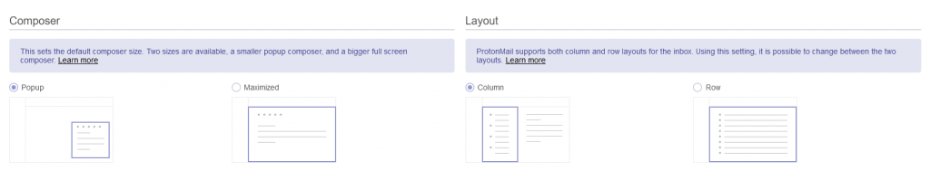 Composer and Layout settings in ProtonMail