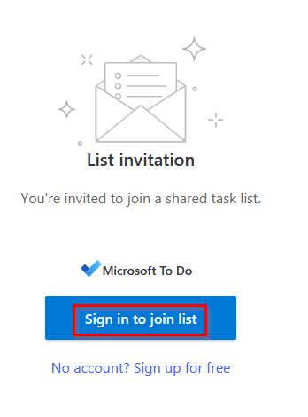 Sign-in to Microsoft account to access shared lists