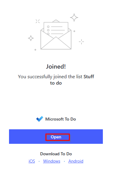 successfully joined shared lists in Microsoft To-Do app