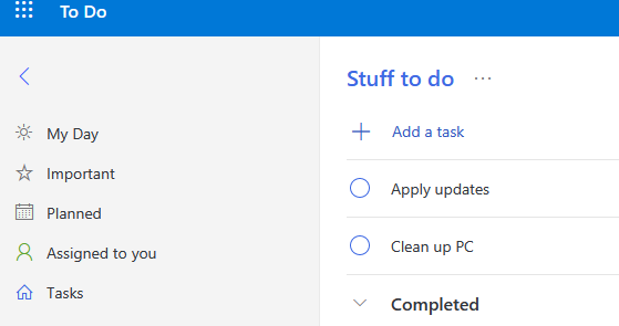 open tasks in the shared lists using Microsoft To-Do app