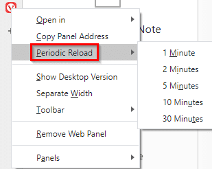 enable auto reloading of websites in Vivaldi web panel