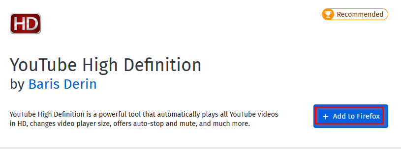 YouTube High Definition Firefox add-on