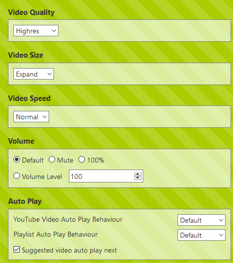 various settings in YouTube High Definition add-on
