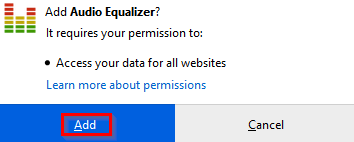 installing Audio Equalizer Firefox add-on
