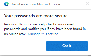 Password Monitor feature enabled in Edge