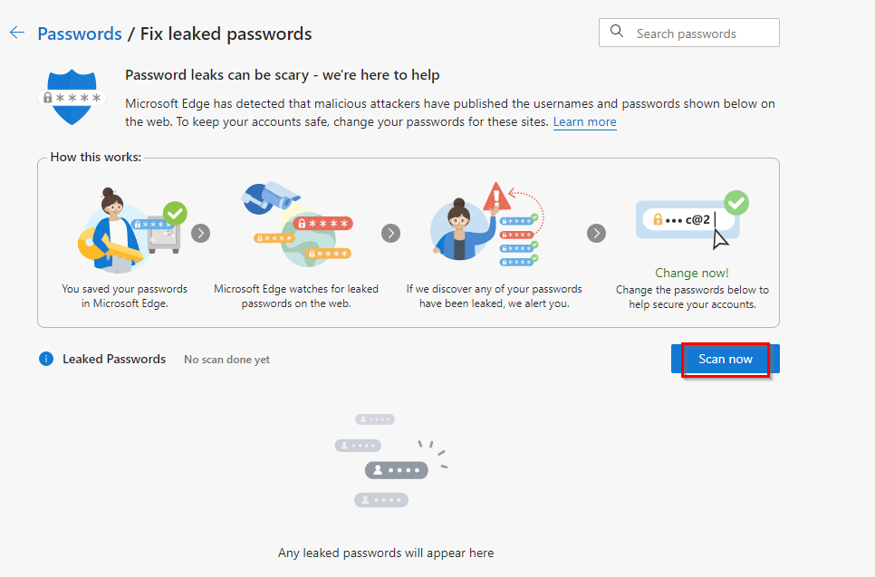 Choosing the manual scan option in Edge's Password Monitor