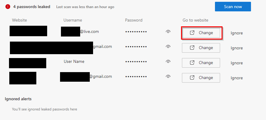 leaked passwords detected using Password Monitor