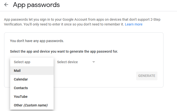 choosing for what apps or devices the app passwords need to be created