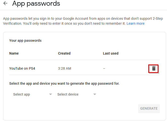 deleting existing app passwords from Google account