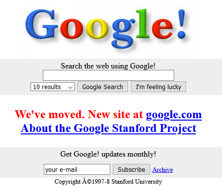 Google homepage from 1997
