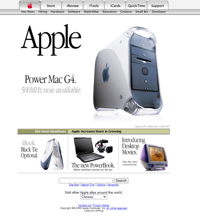Apple homepage from the year 2000