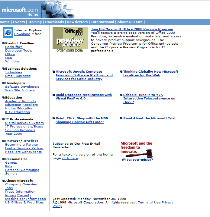 Microsoft homepage from 1998