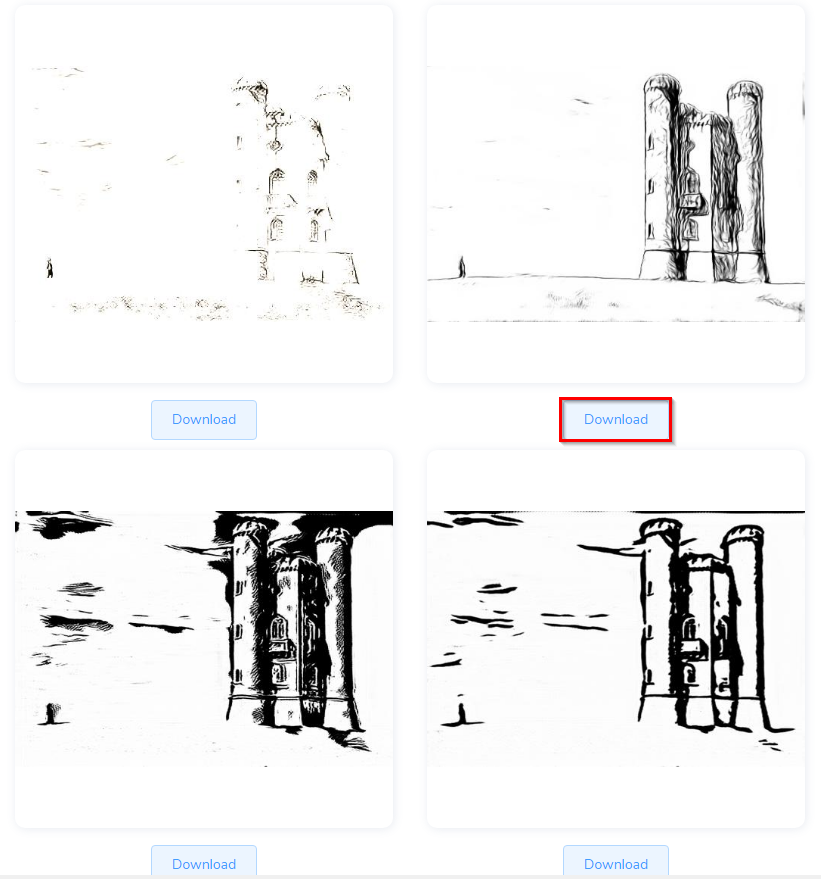 Individual pencil sketches generated from the original input image by Sketcher AI can be downloaded