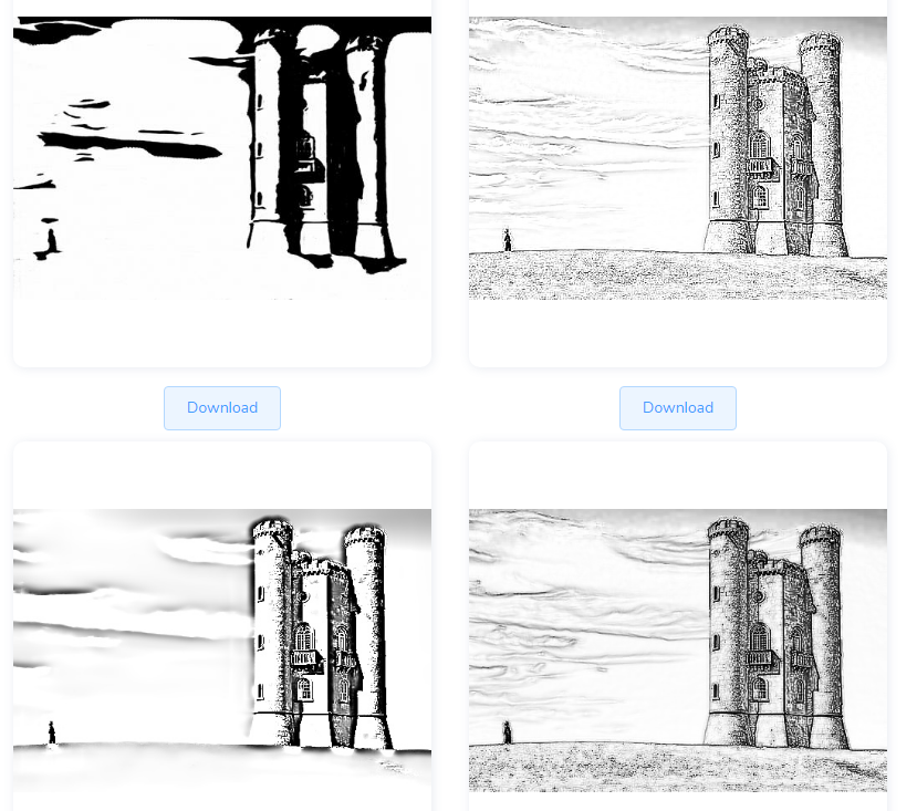 generated pencil sketches of the input image using Sketcher AI
