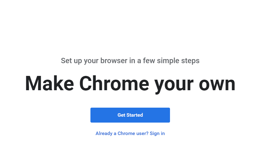 Chrome Welcome page after adding the profile