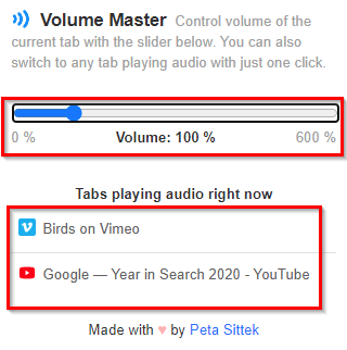 Chrome tabs with audio will be displayed in Volume Master and can be accessed from there