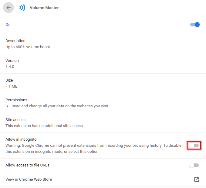enable Volume Master in Chrome incognito mode