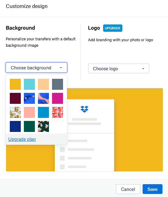 background and logo settings for Dropbox Transfer