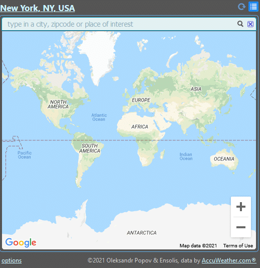 search and add a new location for weather details in Forecastfox