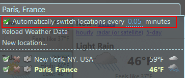 auto switch displaying weather information for added locations in Forecastfox