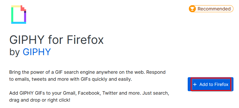 installing GIPHY add-on for Firefox