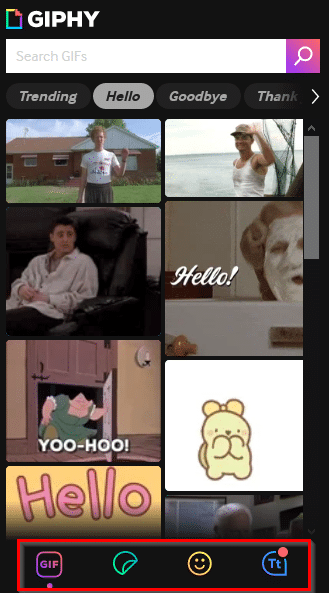 Choosing GIFs from GIPHY add-on