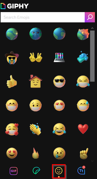 Choosing emojis from GIPHY add-on