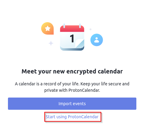 Proton Calendar sign-in page