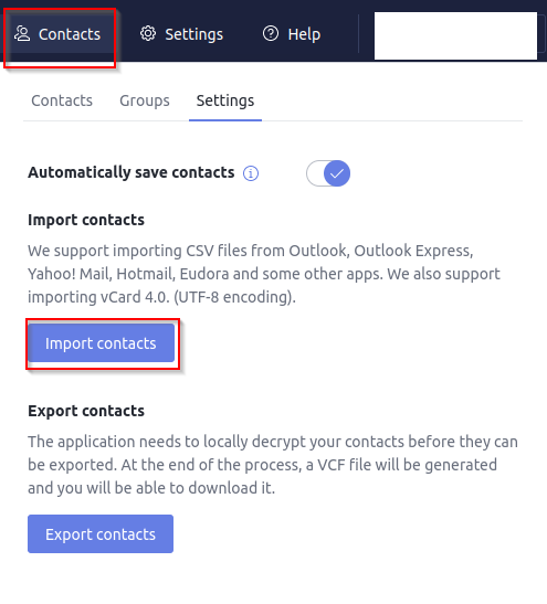 managing contacts settings in Proton Calendar