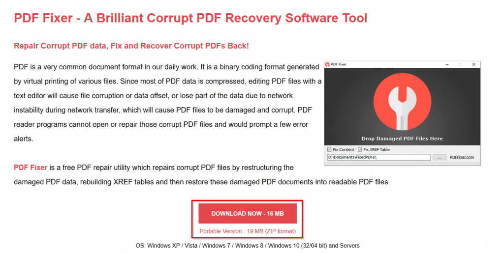 download page for PDF Fixer