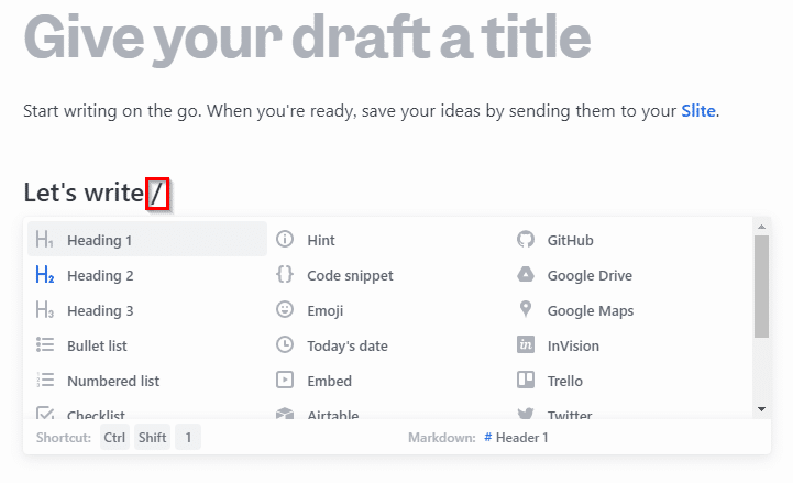 Draft by Slite shortcuts