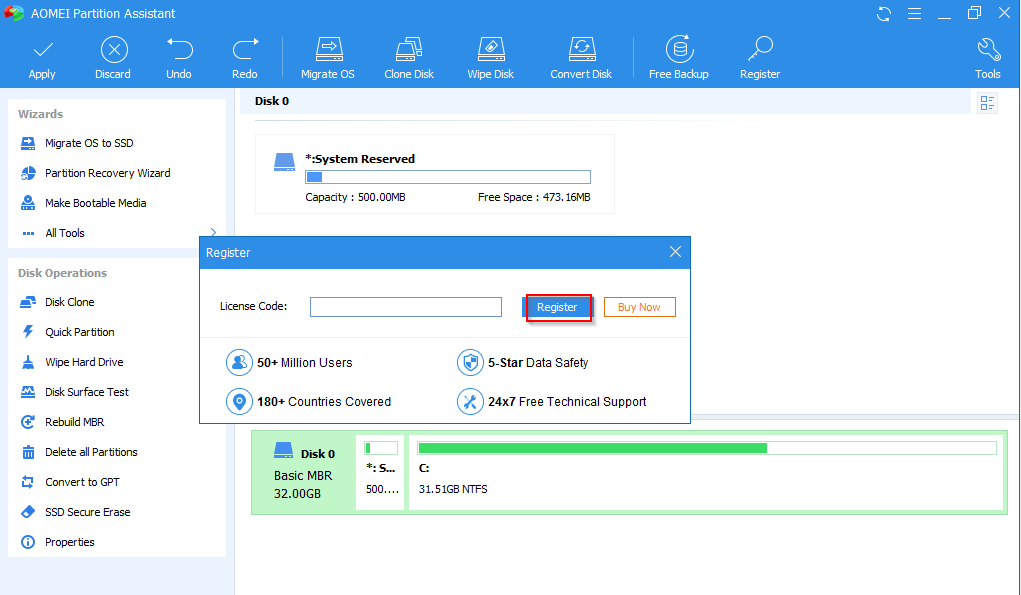 registering the giveaway version of AOMEI Partition Assistant Pro