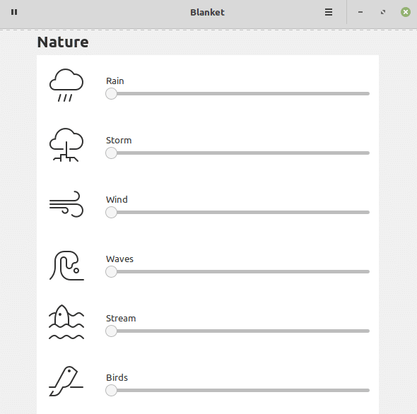 Available relaxing sounds of different categories like nature in Blanket