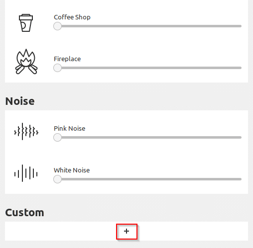 Available relaxing sounds of different categories like noise and custom in Blanket