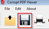 saving corrupted PDF files as a new PDF in Corrupt PDF Viewer