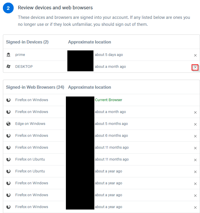 list of logged in Dropbox sessions from different devices and locations