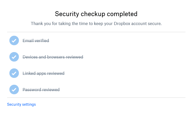 security checkup of Dropbox account completed