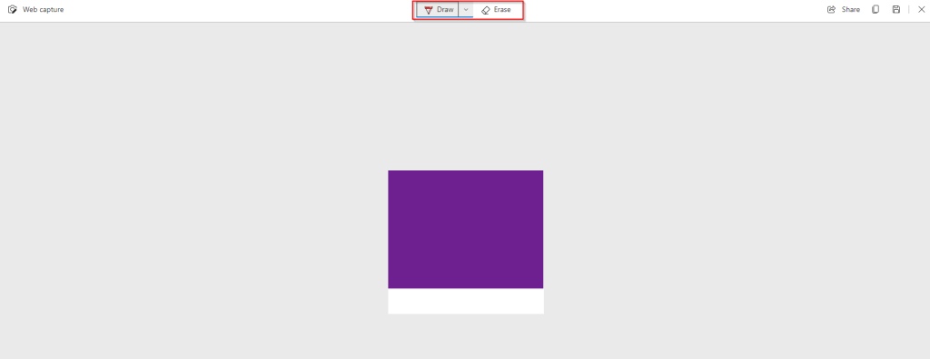 basic editing area in web capture tool